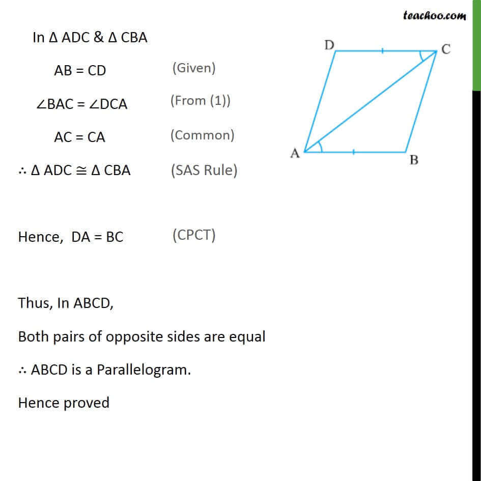 2 Theorem 8.8 - Both Pairs of Opposite sides are equal  ABCD is Parallelogram.jpg