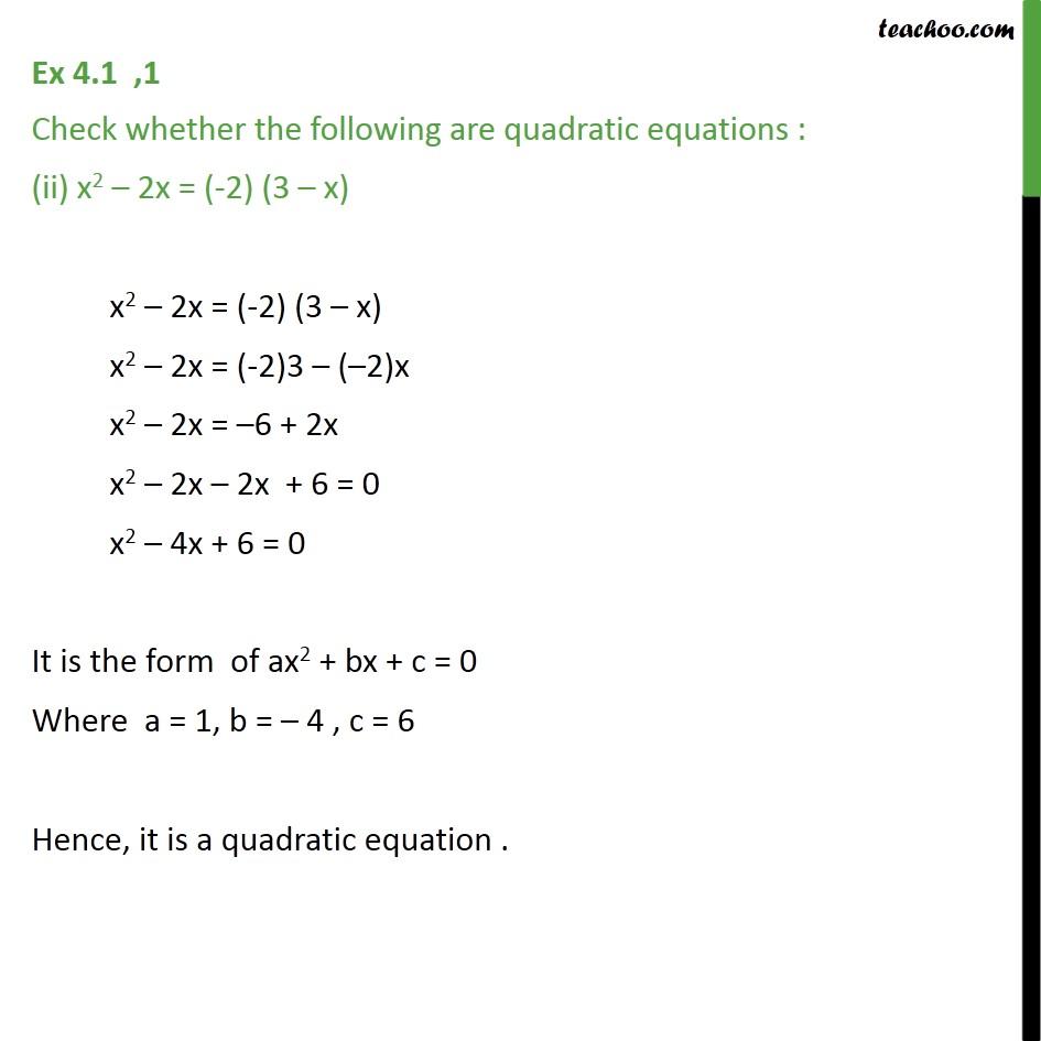 Ex 4.1, 1 - Chapter 4 Class 10 Quadratic Equations - Part 2