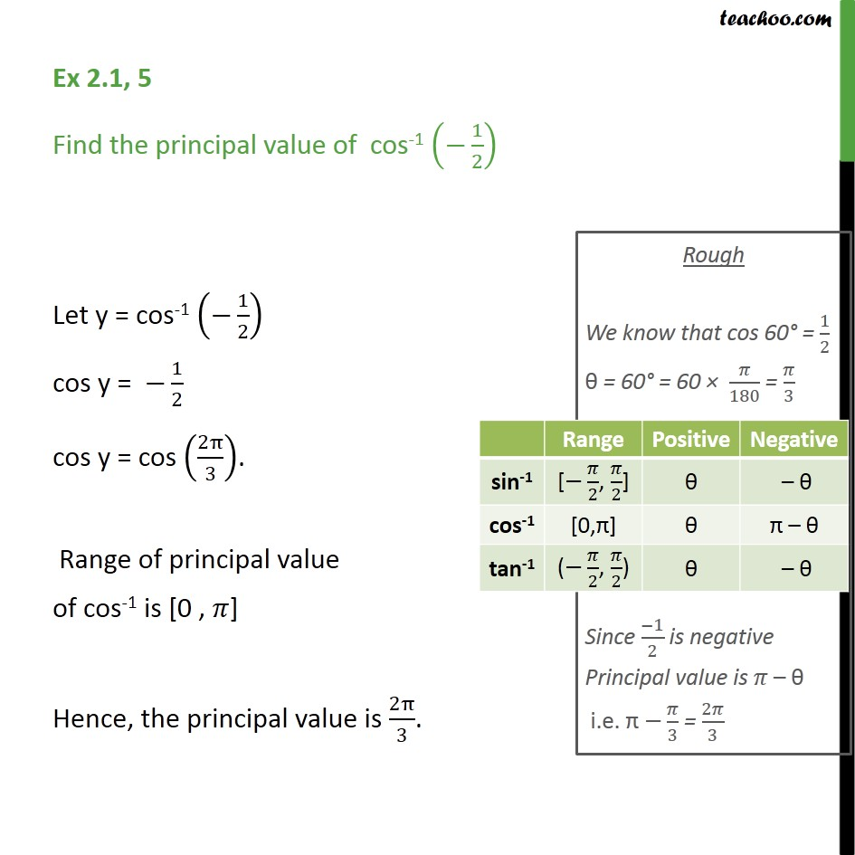 Ex 2.1, 5 - Find principal value of cos-1 (-1/2) - Inverse - Finding pricipal value