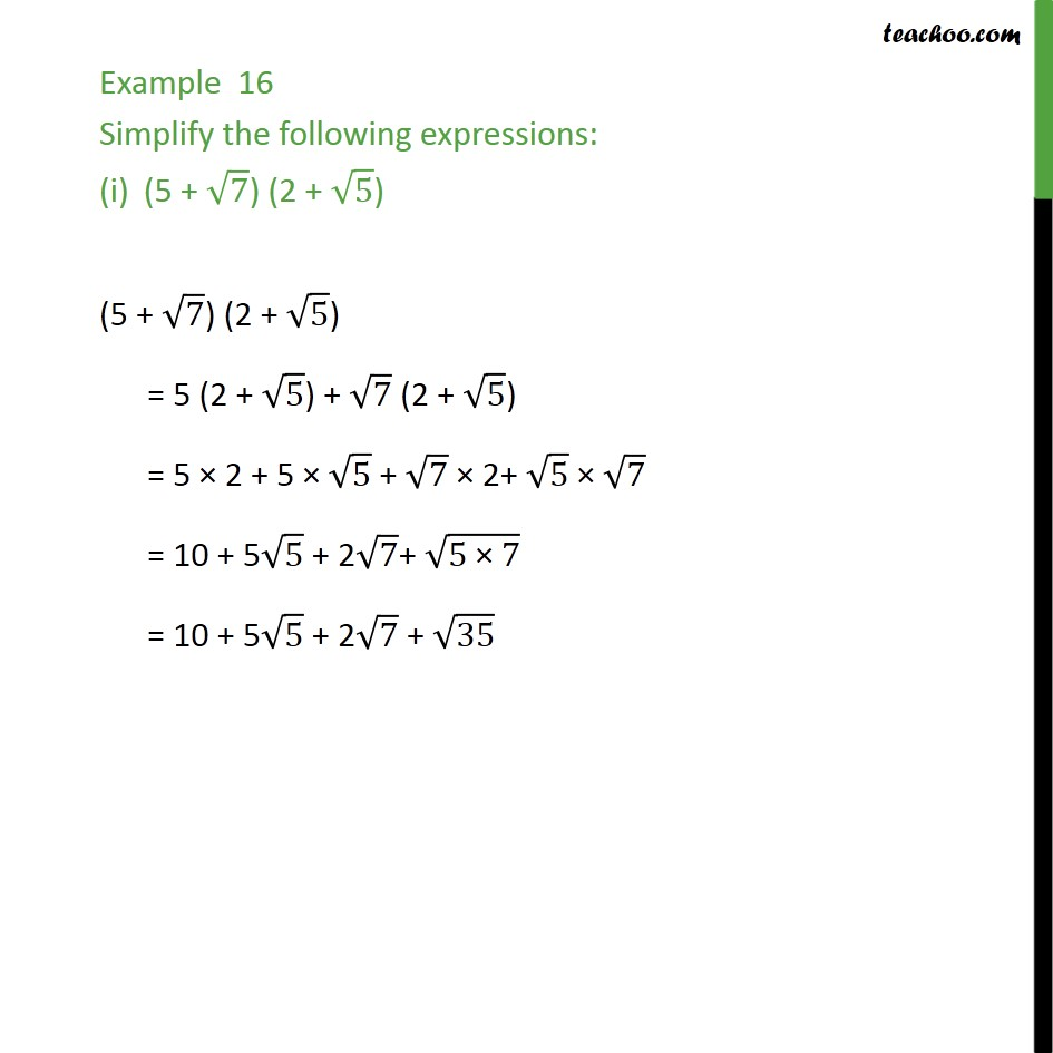 1f961a706de2 Example 16 - Simplify the following expressions: - Class 9 - Simplifying  real numbers