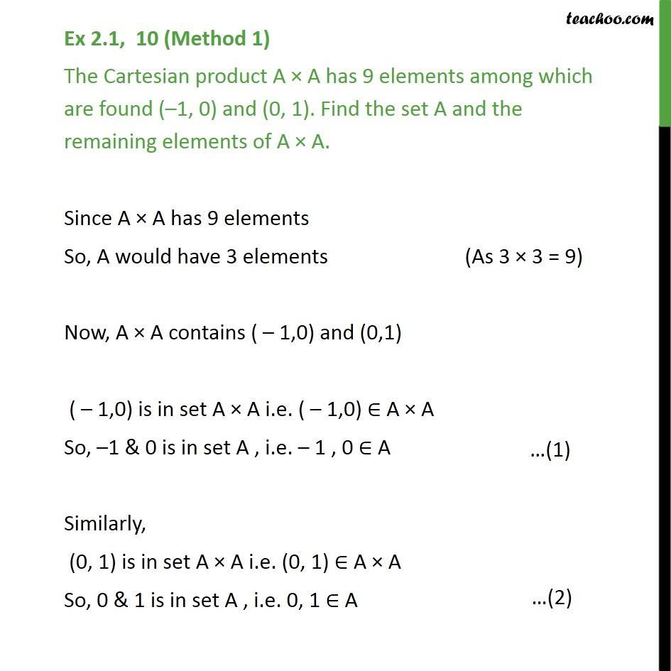 Ex 2.1, 10 - The Cartesian product A x A has 9 elements - Number of elements