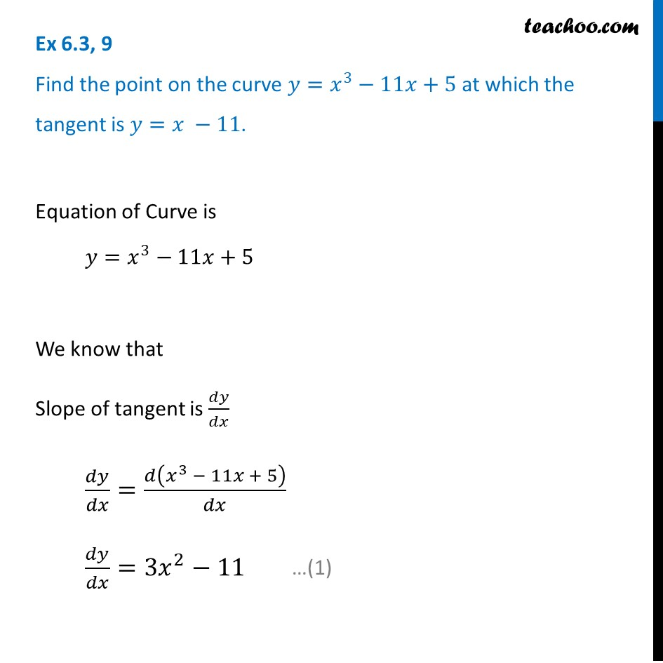 Ex 6.3, 9 - Find point on y = x3 - 11x + 5 at which tangent
