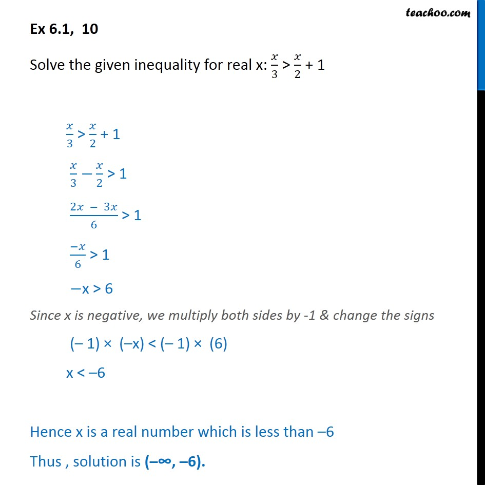 Ex 6.1, 10 - Solve: x/3 > x/2 + 1 - Chapter 6 Linear Inequalities - Solving inequality  (one side)