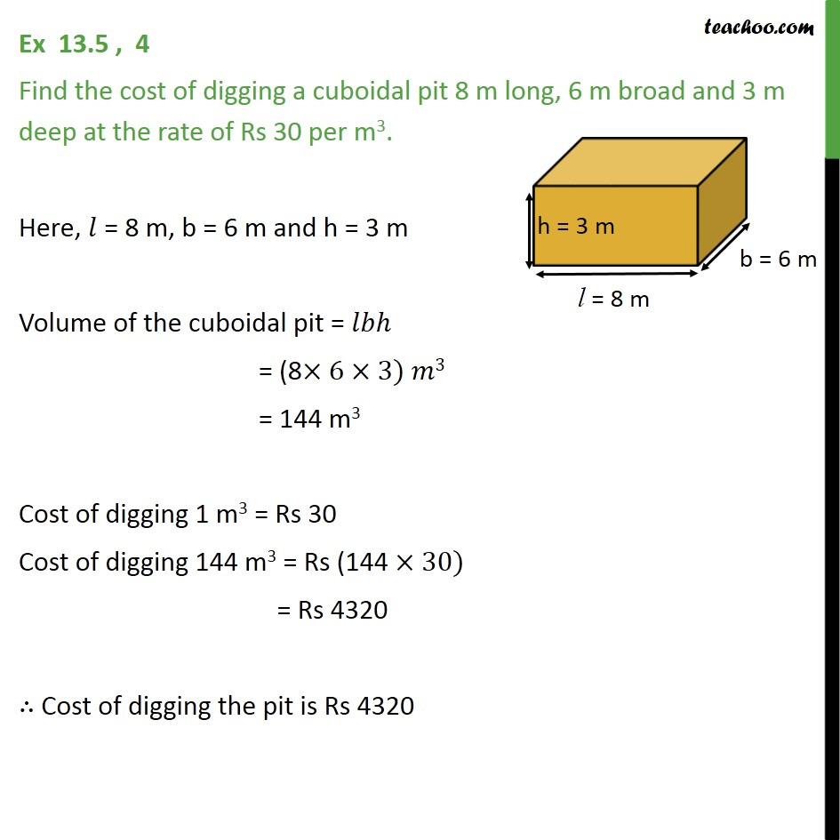 Ex 13.5, 4 - Find cost of digging a cuboidal pit 8 m long - Volume Of Cube/Cuboid