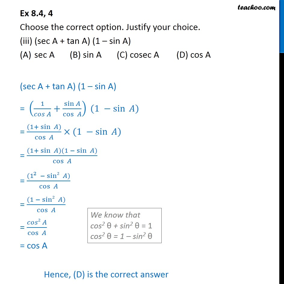 Ex 8.4, 4 - Chapter 8 Class 10 Introduction to Trignometry - Part 4