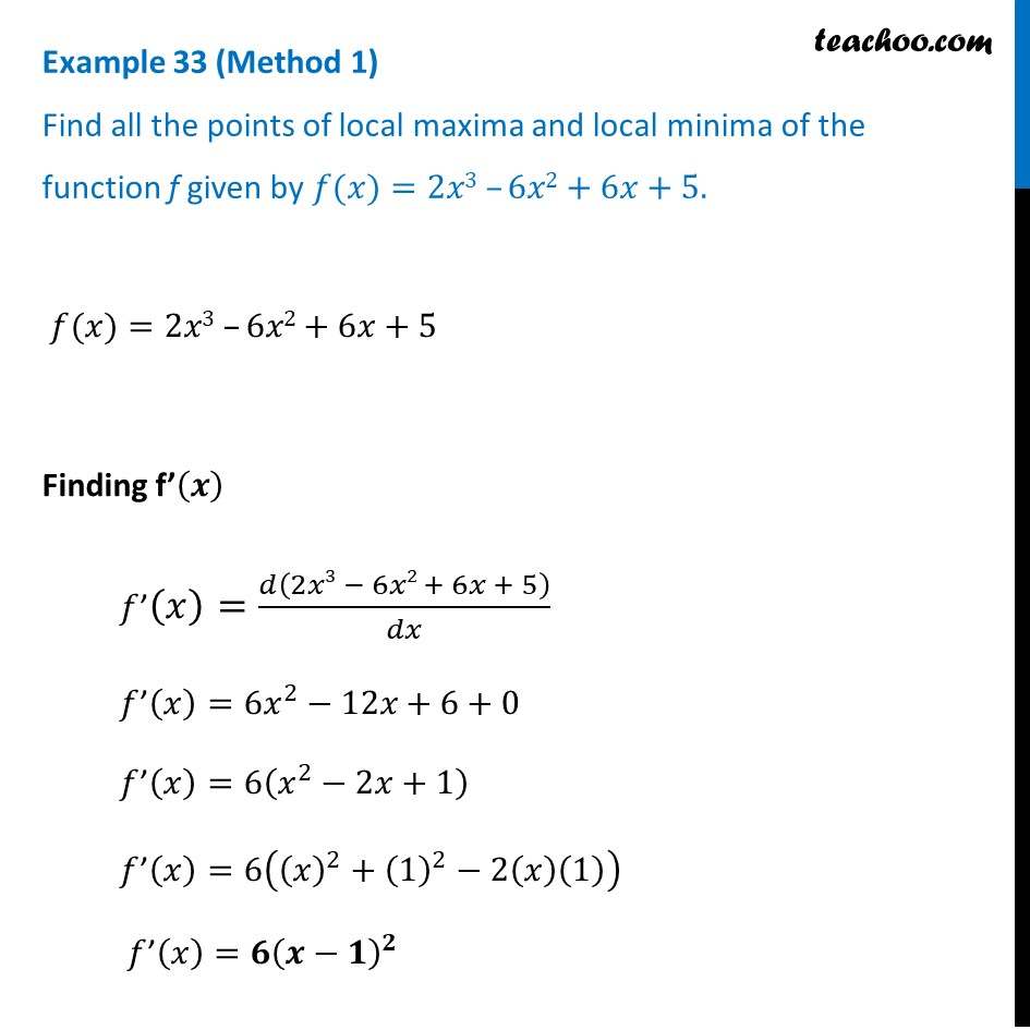 Example 33 - Find all points of local maxima, minima - NCERT