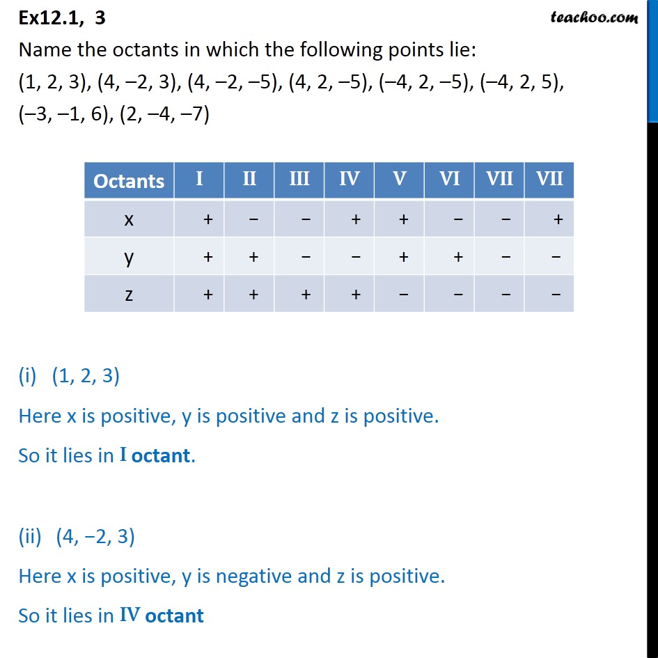 Ex 12.1, 3 - Name the octants in which the points lie - Defination