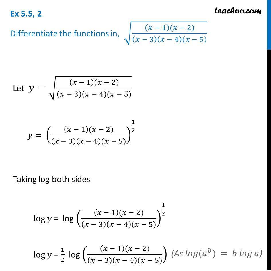Ex 5.5, 2 - Differentiate root (x-1)(x-2)/(x-3)(x-4)(x-5)