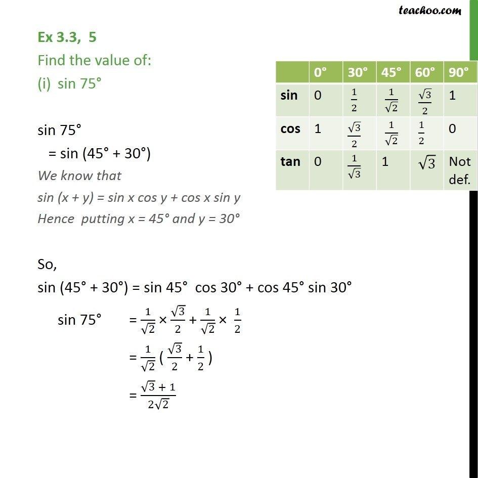 Ex 3.3, 5 - Find value sin 75, tan 15 - Trigonometric Functions - Ex 3.3
