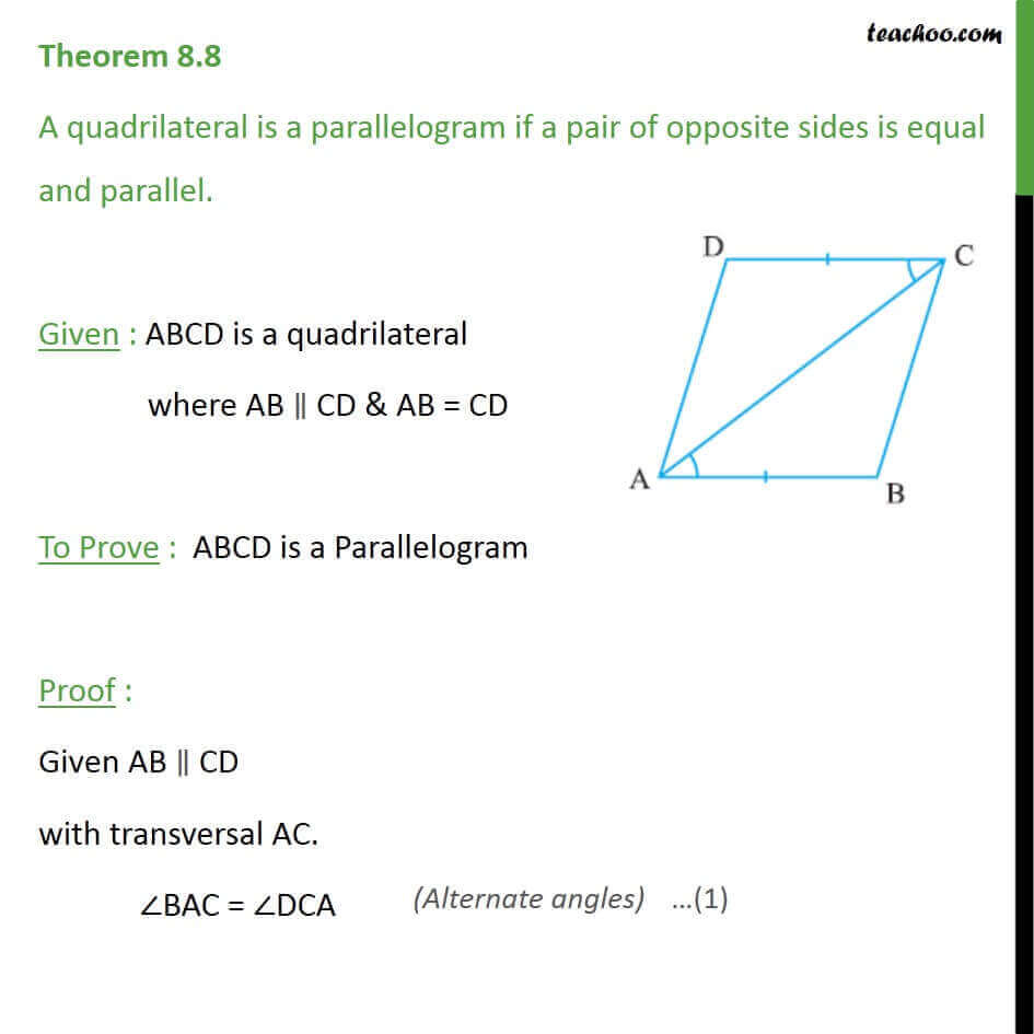 Theorem 8.8 - Class 9 - If pair of opposite sides is equal parallel.jpg