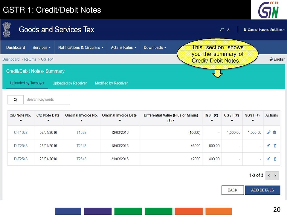 12 GSTR 1 CreditDebit Notes This sections hows you the summary of CreditDebit Notes..jpg
