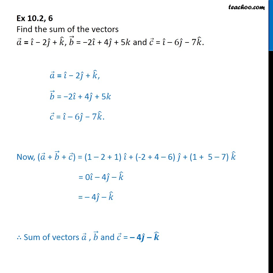 Ex 10.2, 6 - Find sum of vectors a = i - 2j + k, b = - Addition(resultant) of vectors