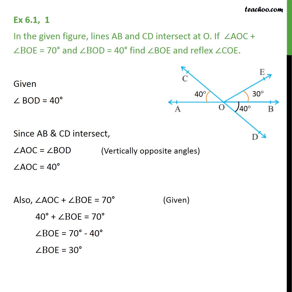 Ex 6.1, 1 - In the given figure, lines AB & CD intersect - Angles - Problems