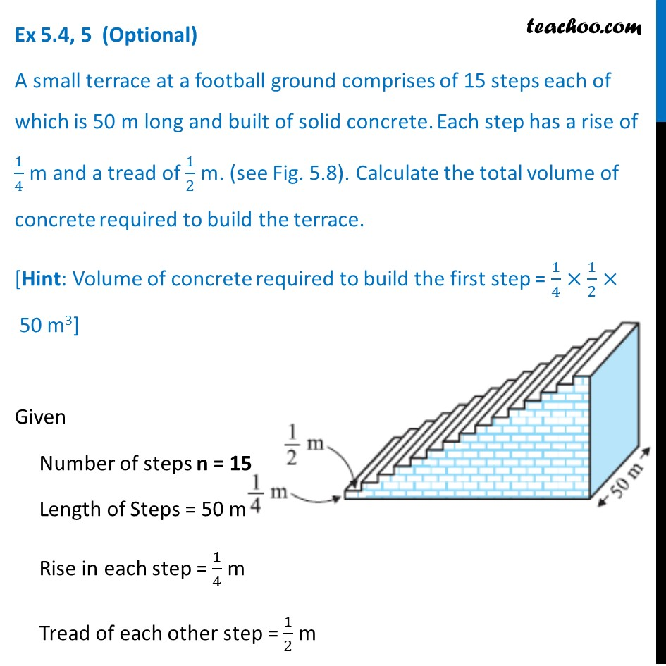 Ex 5.4, 5 (Optional) - A small terrace at football ground of 15 steps