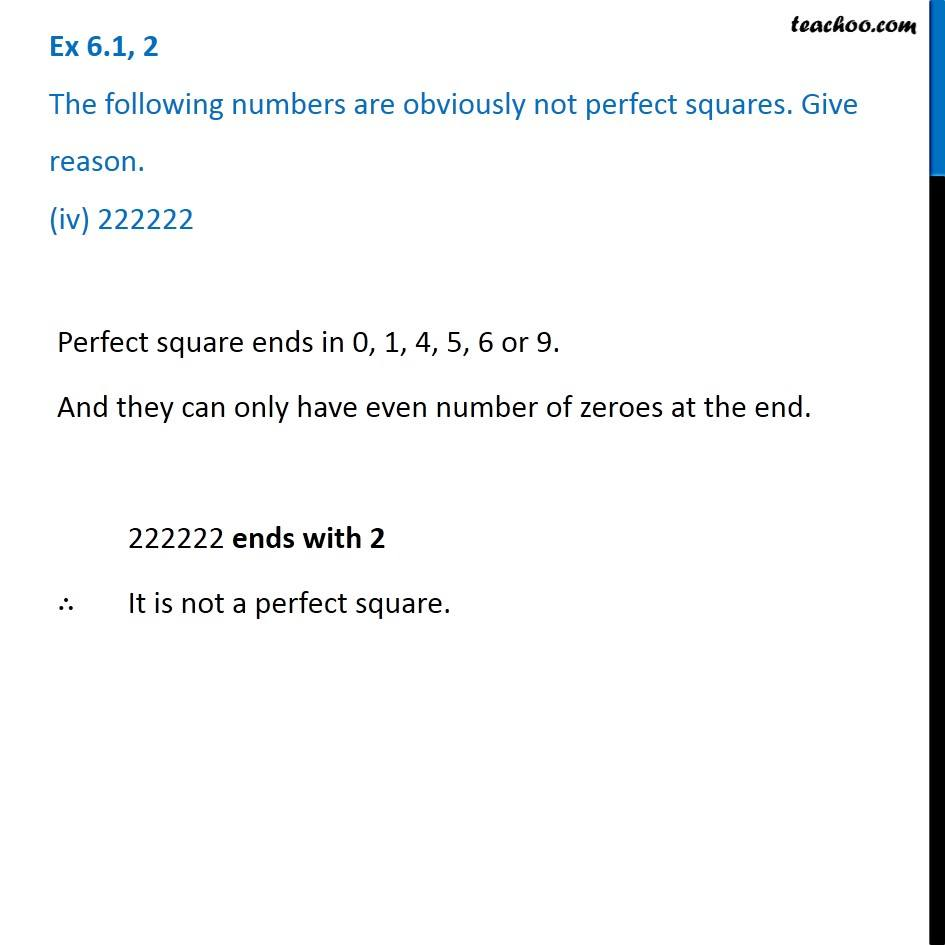 Ex 6.1, 2 - Chapter 6 Class 8 Squares and Square Roots - Part 4