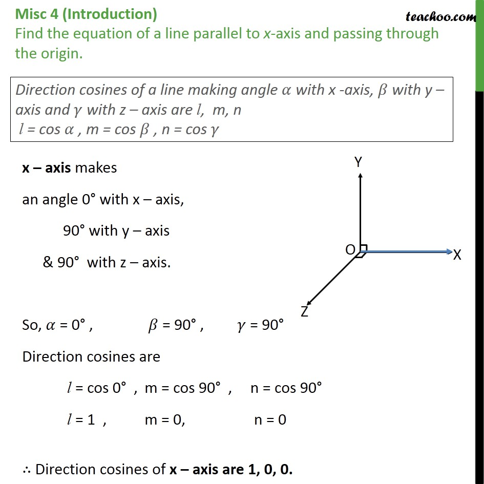 Misc 4 - Find equation of line parallel to x-axis, passing - Equation of line  - given point and //vector
