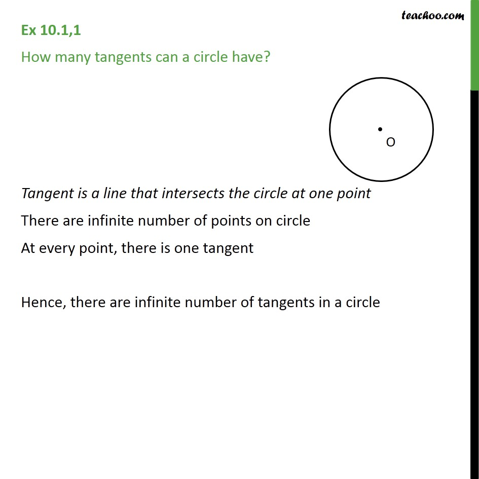 Ex 10.1, 1 - How many tangents can a circle have? - Number of tangents