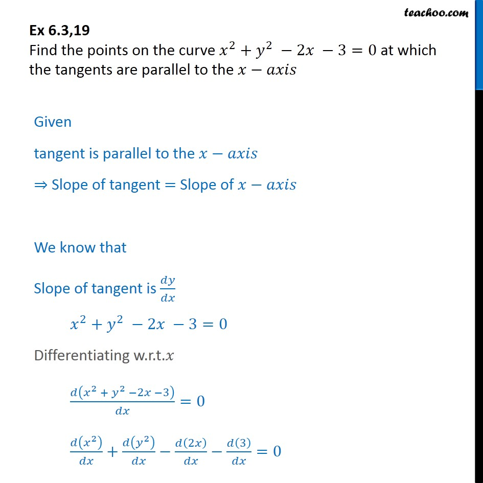 Ex 6.3, 19 - Find points on x2 + y2 - 2x - 3 = 0 tangents - Ex 6.3