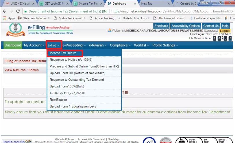 3. Click E-file then select income tax return.jpg