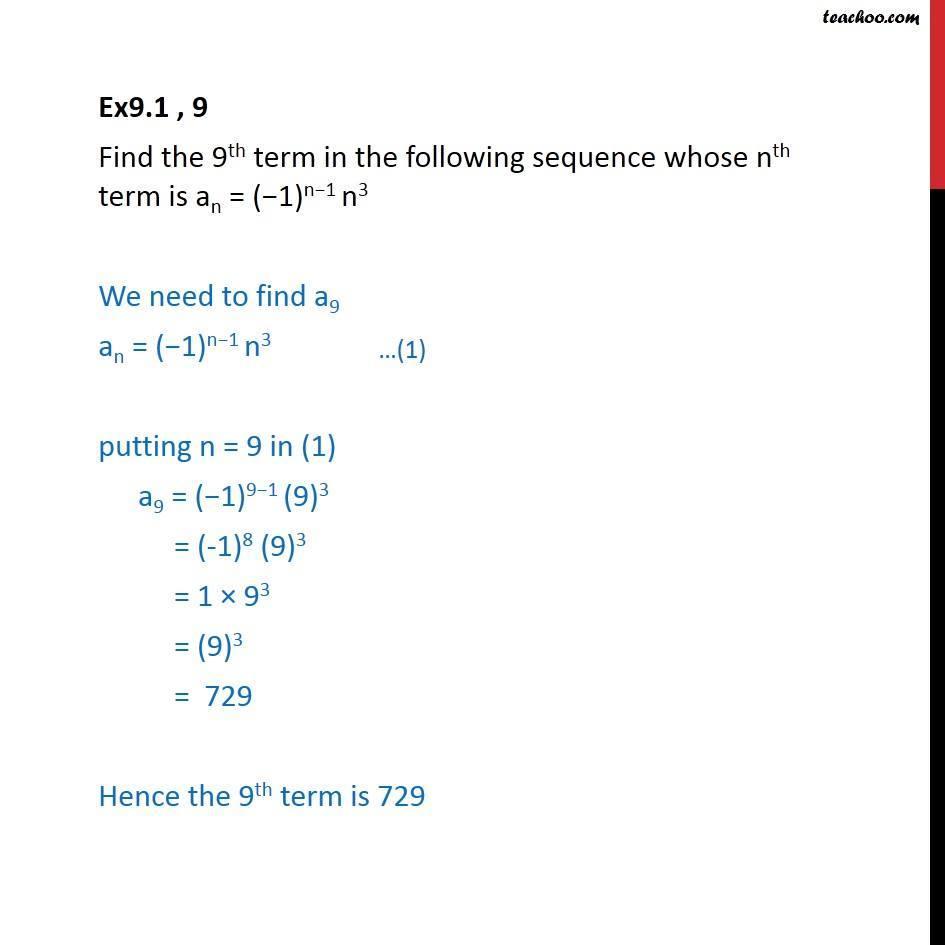 Ex 9.1, 9 - Find9th term an = (-1)n-1 n3 - Chapter 9 - Ex 9.1