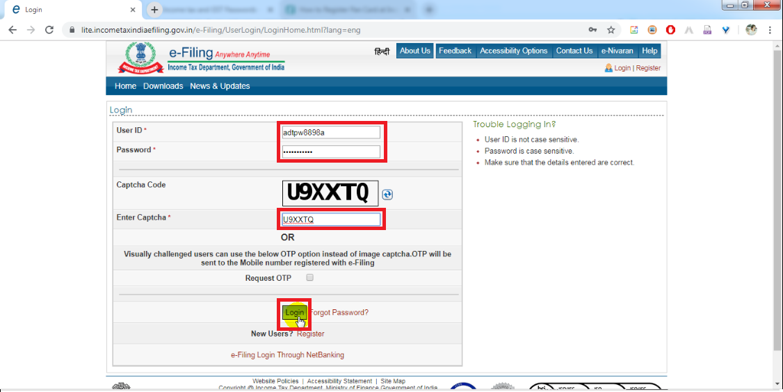 8. Enter Login Id and Click login Button.png
