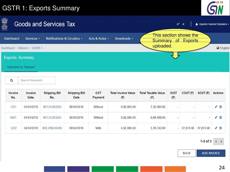 24 GSTR 1 Exports Summary This sections hows the Summary of Exports uploaded..jpg