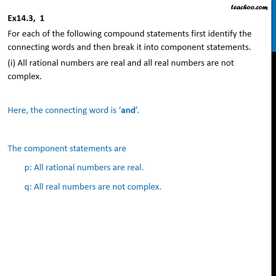 Ex 14.3, 1 - For each compound statements first identify - Words 'And' & 'Or'