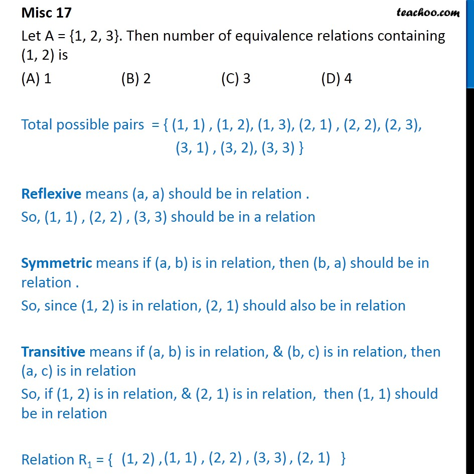 Misc 17 - Let A = {1, 2, 3}. Number of equivalence relations - Finding number of relations