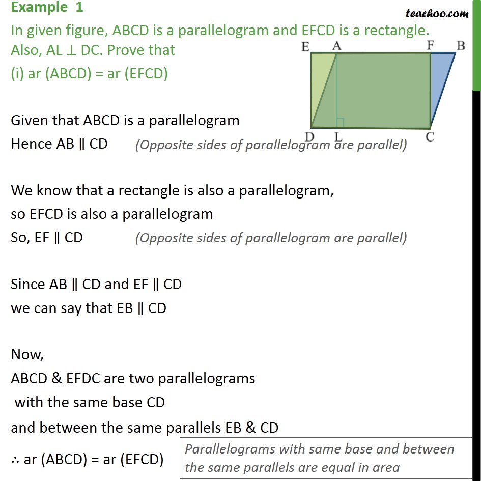 Example 1 - In figure, ABCD is a parallelogram and EFCD - Paralleograms with same base & same parallel lines