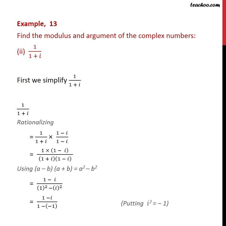 Example 13  - Chapter 5 Class 11 Complex Numbers - Part 8