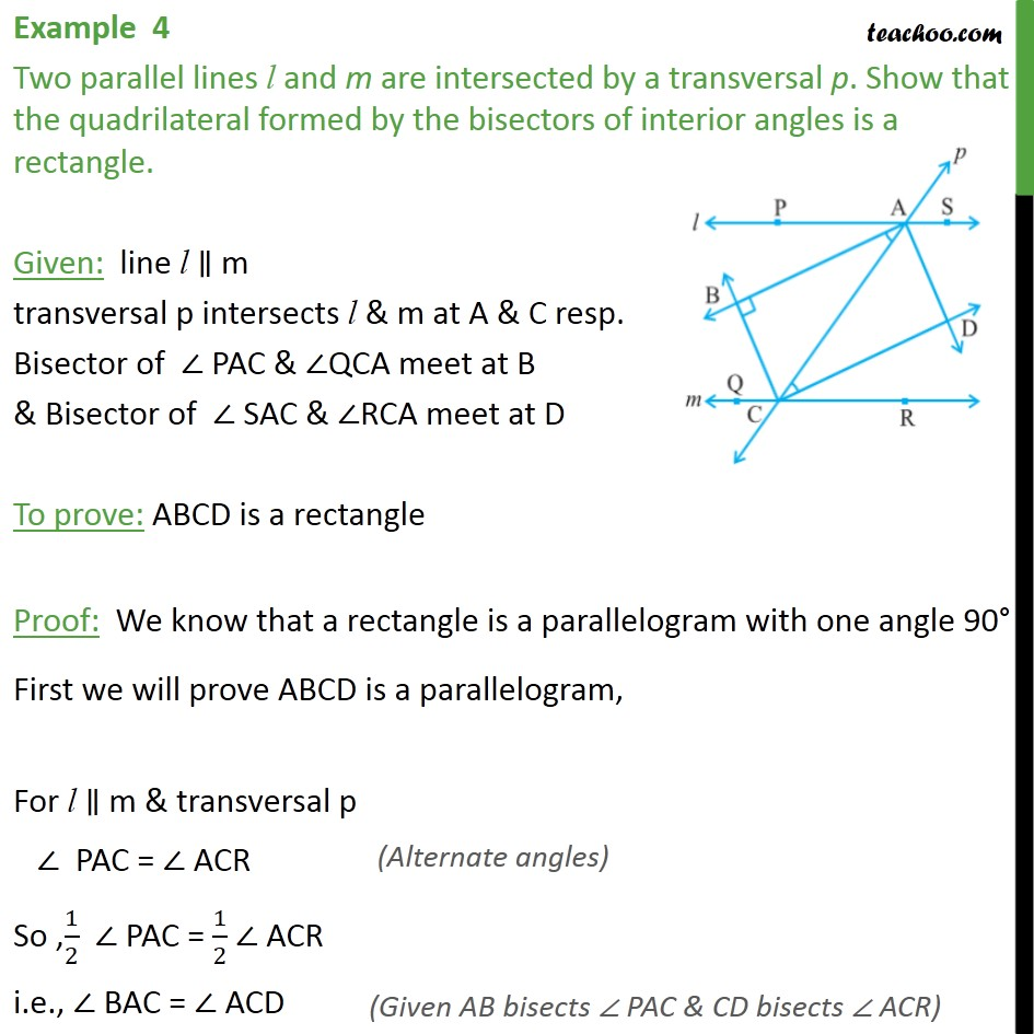 Example 4 - Two parallel lines l and m are intersected