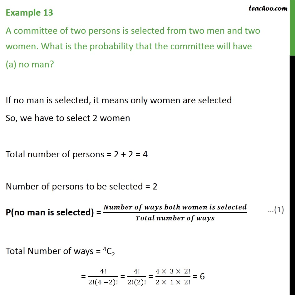 Example 13 - A committee of two persons is selected from two - Chapter 16 Class 11 Probability