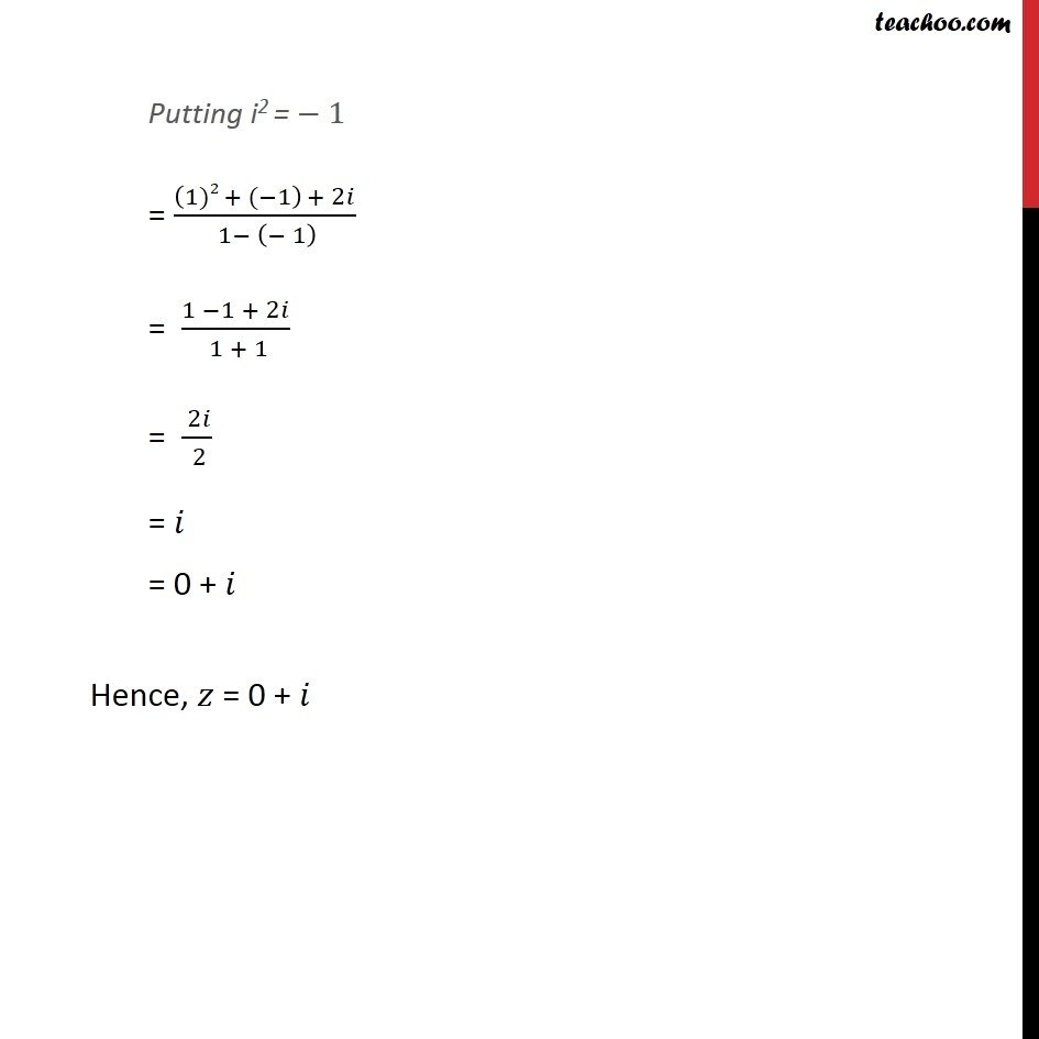 Example 13  - Chapter 5 Class 11 Complex Numbers - Part 2