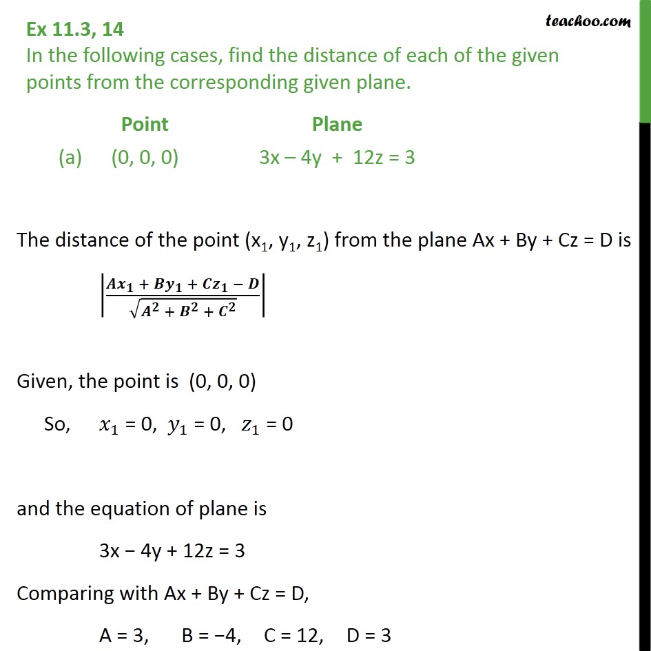 Ex 11.3, 14 - Find distance of points from plane - Distance of point from plane