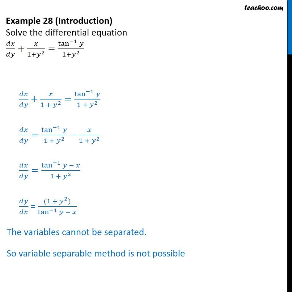 Example 28 - Solve dx/dy + x/1 + y2 = tan-1 y / 1+y2 - Examples