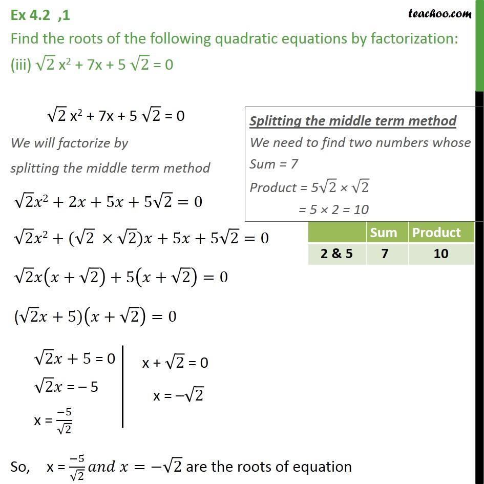 Ex 4.2, 1 - Chapter 4 Class 10 Quadratic Equations - Part 3