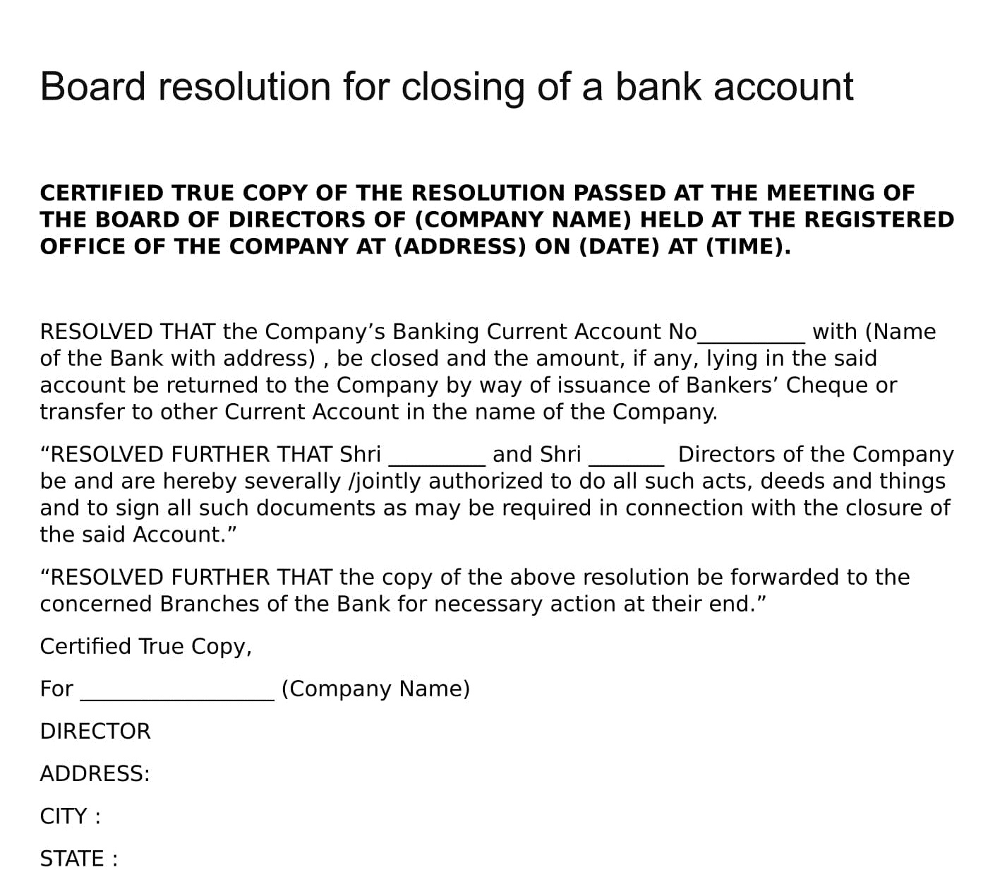 Board Resolution For Closing Of A Bank Account Board Resolutions