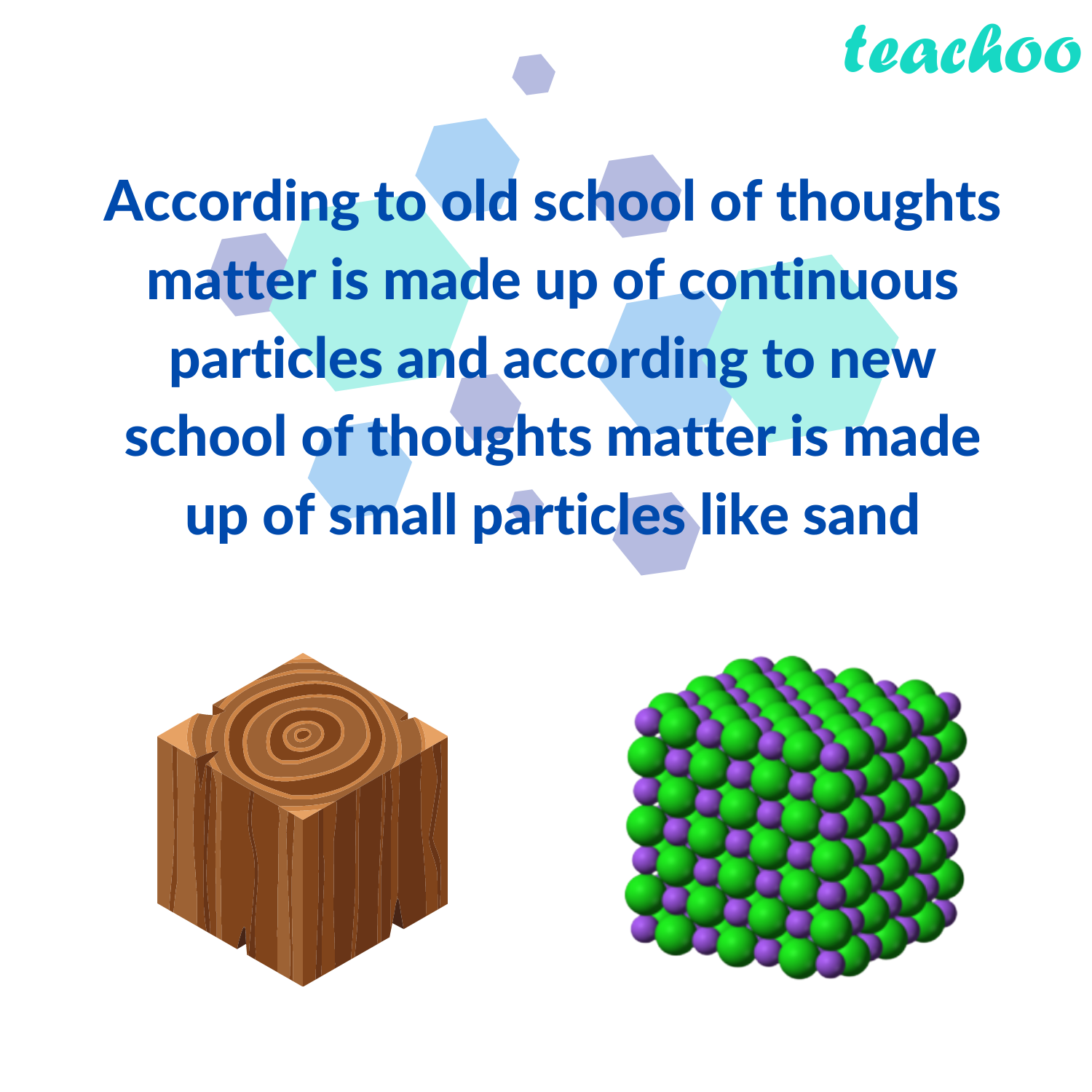 According to old school of thoughts matter is made up of continuous particles and according to new school of thoughts matter is made up of small particles like sand - Teachoo.png