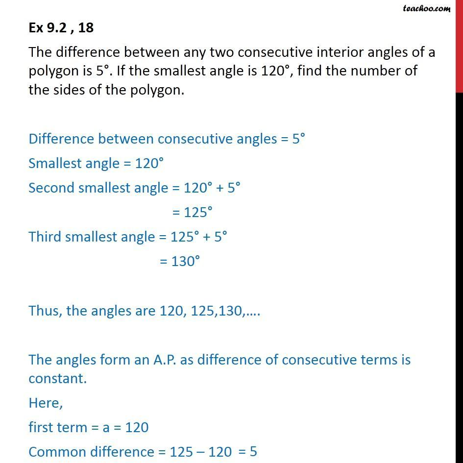 Ex 9.2, 18 - The difference between two interior angles - Arithmetic Progression (AP): Statement