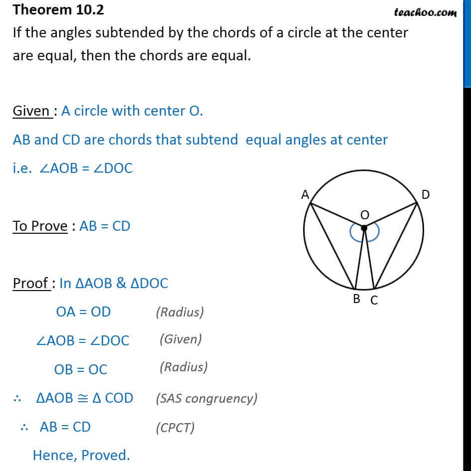 Theorem 10.2 - Class 9 - If angles subtended by chords at center equal.jpg