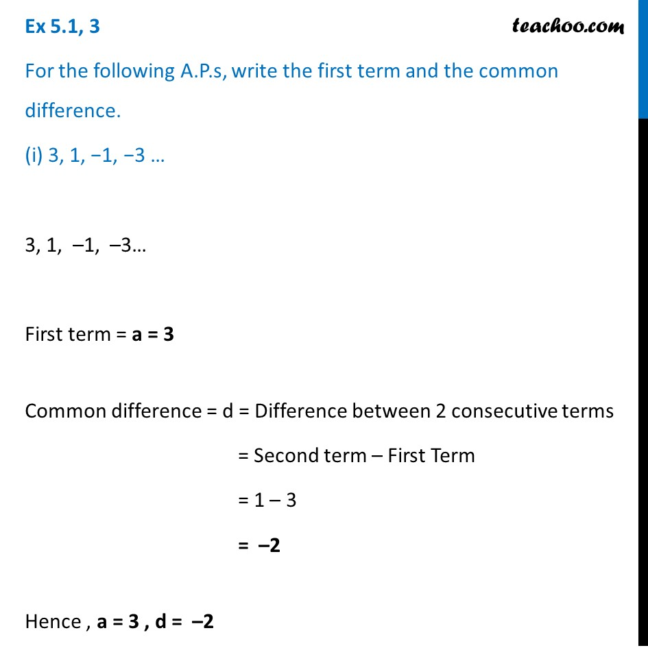 Ex 5.1, 3 - For the A.P.s, write first term and common - Ex 5.1