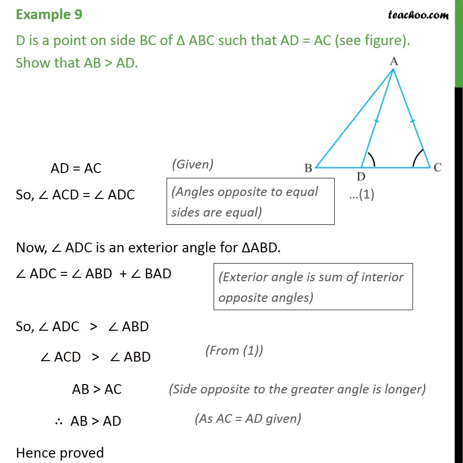 Example 9 - D is a point on side BC of ABC such that AD = AC - Side inequality