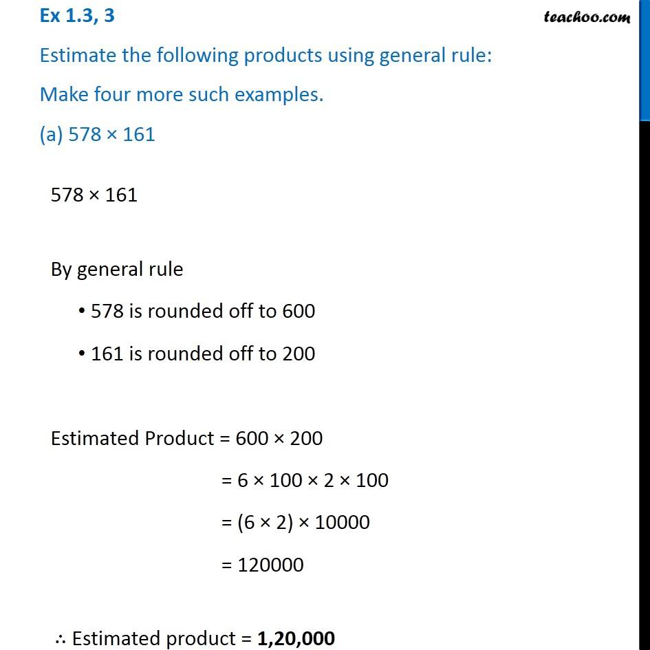 Ex 1.3, 3 - Estimating product