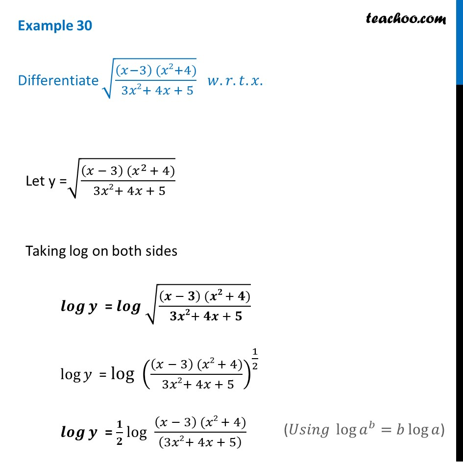 Example 30 - Differentiate root (x-3) (x^2+4) / 3x^2 + 4x + 5