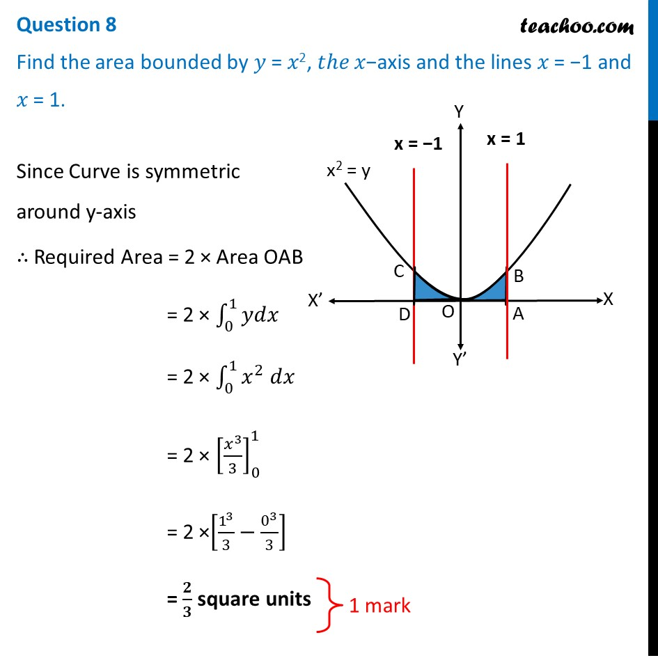 Find the area bounded by y = x^2, the x-axis and lines x = -1 and x=1