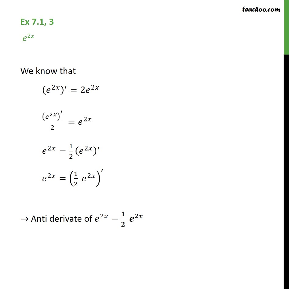 Ex 7.1, 3 - Integrate e2x - Class 12 Intgeration NCERT - Using Formulaes