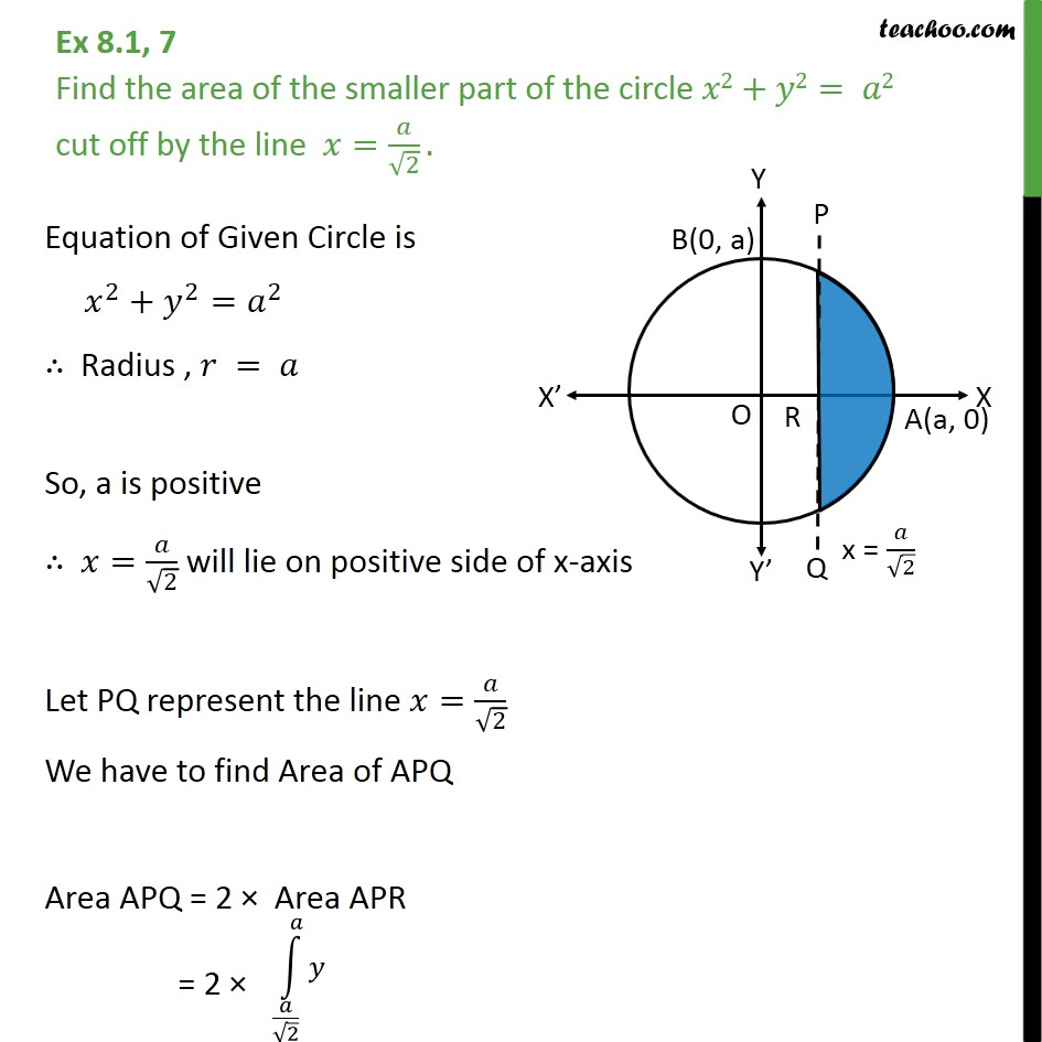 Ex 8.1, 7 Find area of smaller part of circle x2 + y2 = a2 cutoff - Ex 8.1