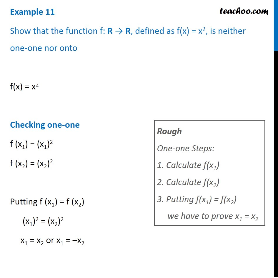 Example 11 - Show f(x) = x2 is neither one-one nor onto - Examples