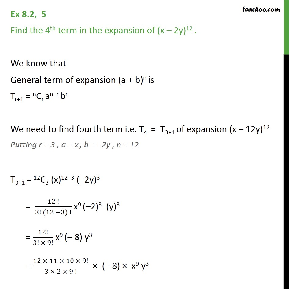 Ex 8.2, 5 - Find 4th term of (x - 2y)12 - Chapter 8 Class 11 - Coefficient