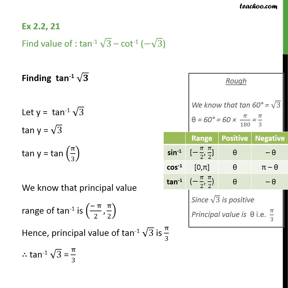 Ex 2.2, 21 - Find: tan-1 root 3 - cot-1 (- root 3) - Finding pricipal value